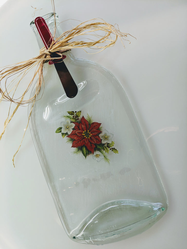Melted Wine Bottle Cheese Platter - Flowers