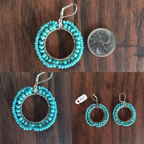 Round Turquoise Earrings - Last Chance