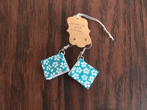 Book Earrings - Blue Flowers