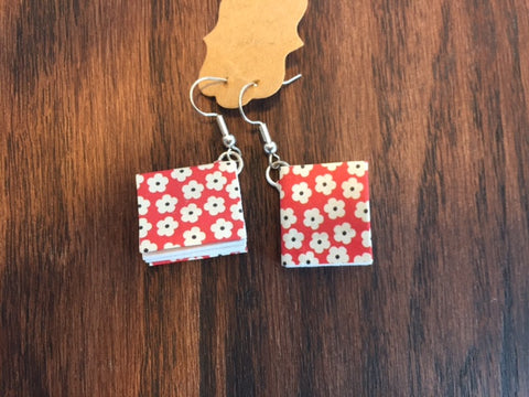 Book Earrings - Red Flowers