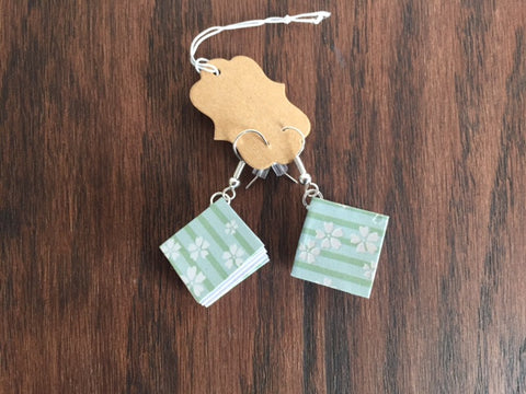 Book Earrings - Light Green with White Flowers