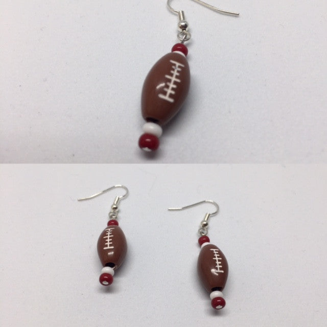 Red Football Earrings