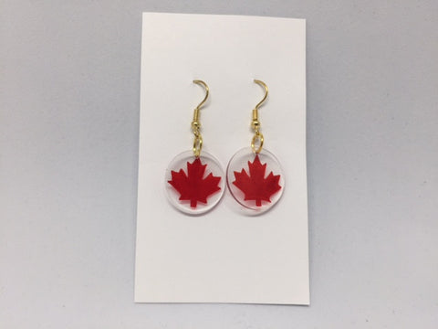 Maple Leaf Earrings - Round