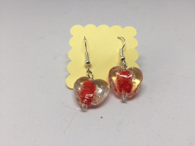 Glow in the Dark Earrings - Red Hearts