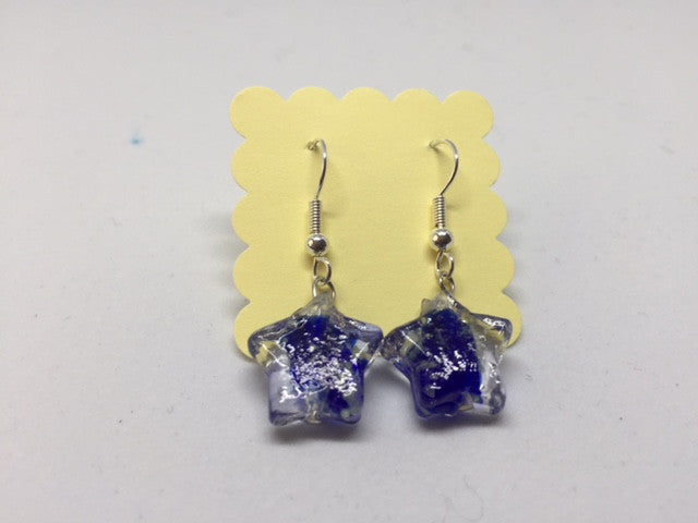 Glow in the Dark Earrings - Blue Stars