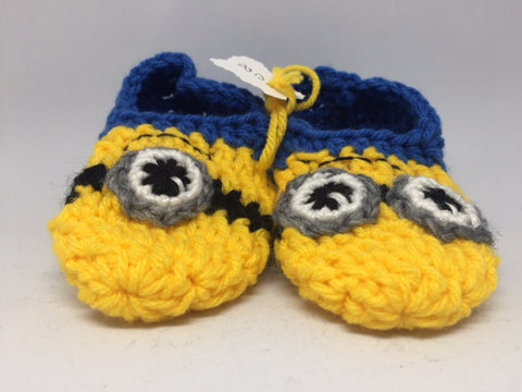 Minion Knitted Baby Booties (size 4 & 8)