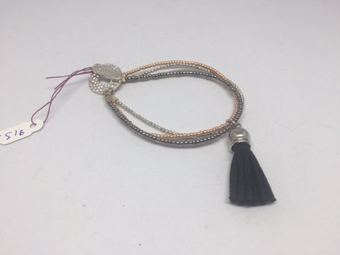 3 Strand Bracelet with Black Tassel