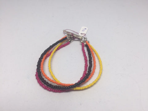 4 Strand Bracelet - Yellow, Black, Pink & Orange