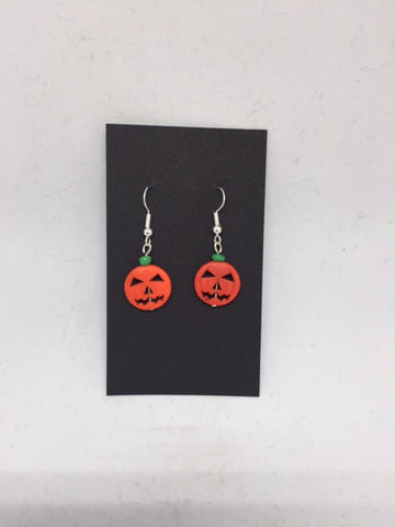 Beaded Pumpkin Earrings - Nickle Free
