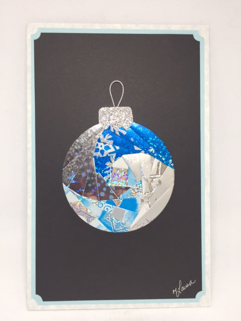 Blue Christmas Ornament Card