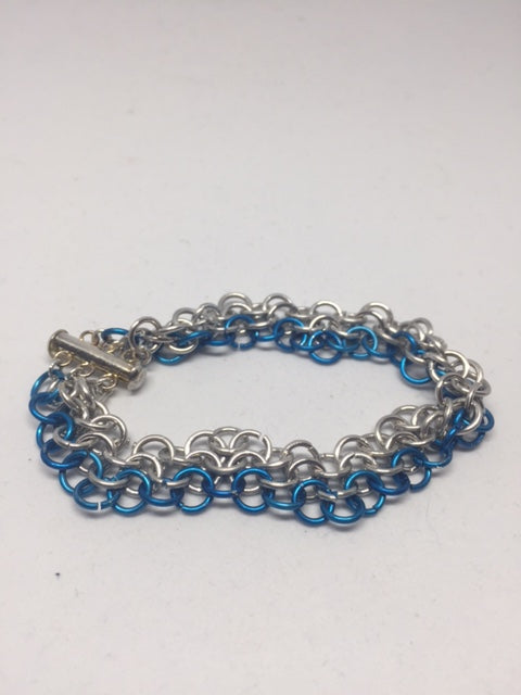 Blue & Silver Chain-mail Bracelet