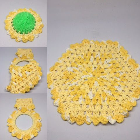 Yellow/White Hanger, Scrubber (Green) & Dish Cloth Set (3 pieces) - Leaving Website Soon