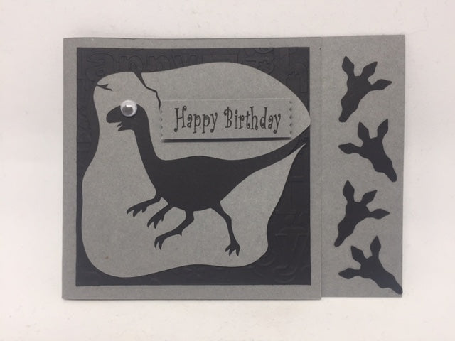 Dinosaur Birthday Card - Grey/Black
