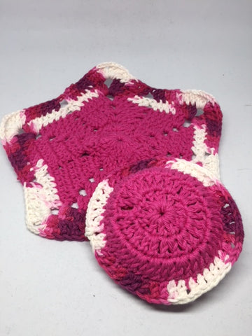 Pink Dish Cloth with Matching Scrubber - Leaving Website Soon
