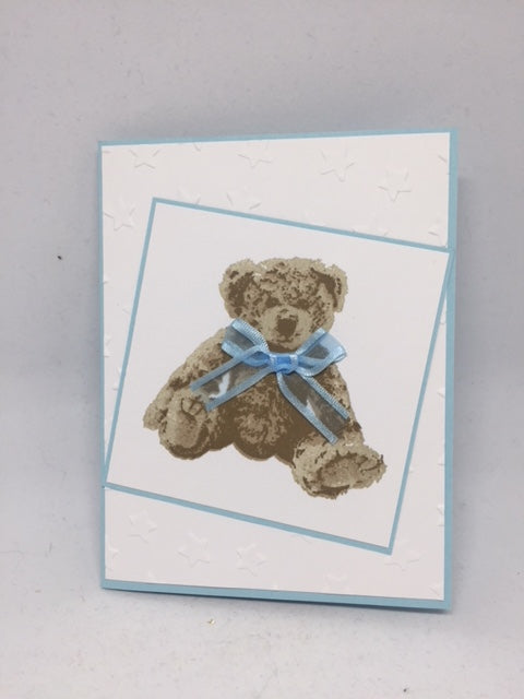 Blue Bear Baby Card