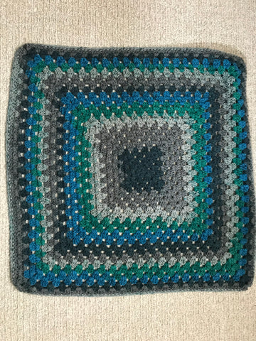 Baby Blanket - Grey, Blue & Green