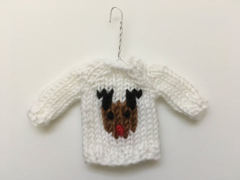 Mini Christmas Sweater Ornament - Rudolph