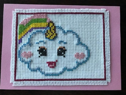 Cloud With Rainbow Cross Stitch Card