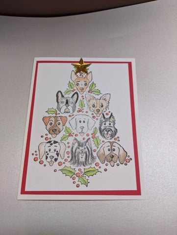 Dog Christmas Tree Card