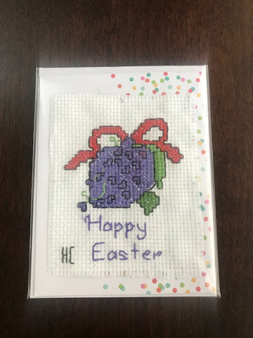 Happy Easter Berry Cross Stitch Card