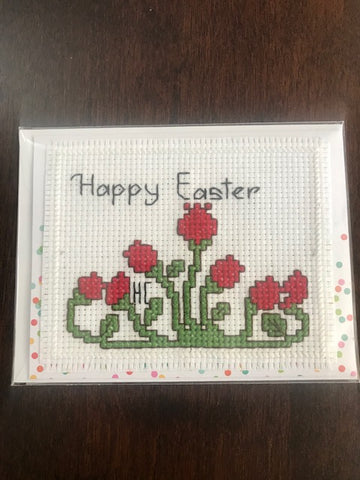 Happy Easter Red Flowers Cross Stitch Card