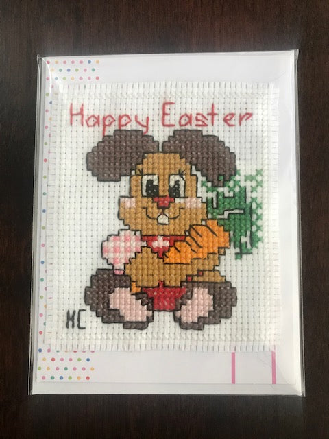 Happy Easter Bunny Cross Stitch Card