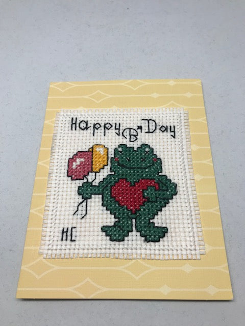Happy Birthday Frog Cross Stitch Card