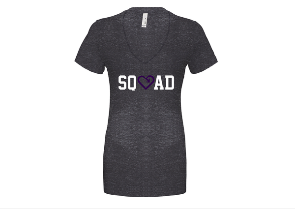 iLove My Squad Womens Deep V Neck Tee - Charcoal Marble