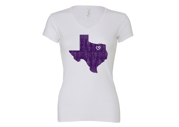 iLove My Home Town Womens V Neck Tee - White