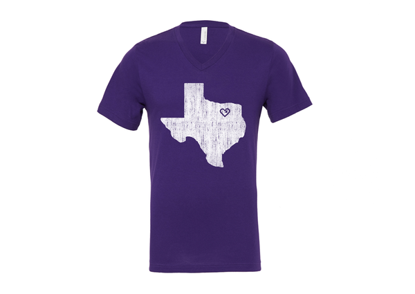 iLove My Home Town V neck Tee - Purple