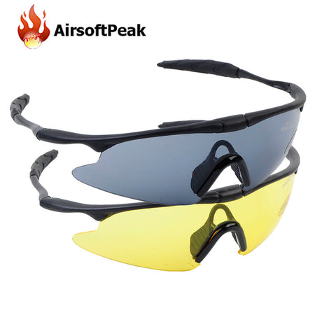 AIRSOFTPEAK Tactical Glasses Sporty UV400 Protector Shooting Glasses Goggle Hiking Eyewear Military Goggles Hunting Sunglasses - FREE SHIPPING