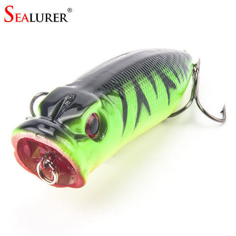 Lowest Price Fishing Tackle 3D eyes 6.5CM 13G With 6# Treble Hooks Popper Fishing Lure Plastic Wobbler Artificial Hard Bait