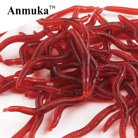Anmuka 50pcs 3.8cm 0.2g Soft Lure Red Worms EarthWorm Fishing Baits Trout Fishing Lures fishing tackle fishing  spoon 21032-50 FREE SHIPPING