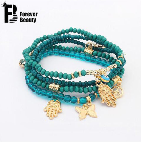 Lucky Kabbalah Fatima Hamsa Hand Blue Evil Eye Charms Bracelets & Bangles - FREE, pay for processing and shipping only
