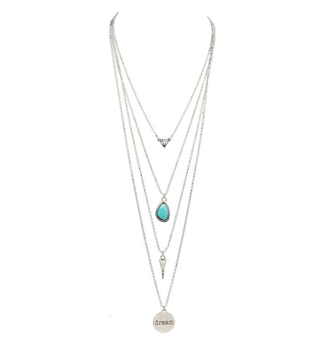 Long Multi Layer Necklace & Pendants Turquoise Vintage Gold  Chain Necklace - FREE, pay for processing and shipping only