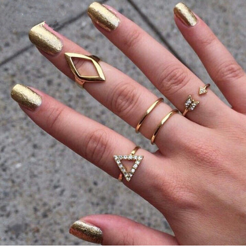 18K gold Rhinestone Triangle rhombus Arrow Finger Rings Set ,5pcs/set, FREE, pay for processing and shipping only