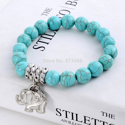New Design Fashion Vintage Bohemia National style Turquoise Beaded Tibetan Silver Elephant charm Stretch bracelet jewelry women - FREE, pay for processing and shipping only