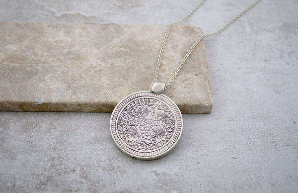 Engraved Silver Pendant and Chain