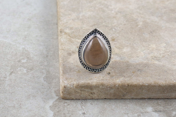 Shari Smokey Quartz Silver Ring