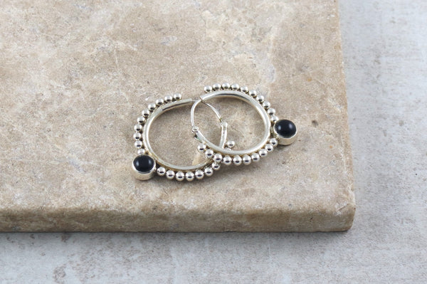 Sterling silver and onyx hoop earrings