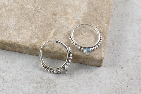 Silver and Moonstone Hoop Earrings