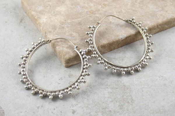 Kosa Silver Hoop Earrings