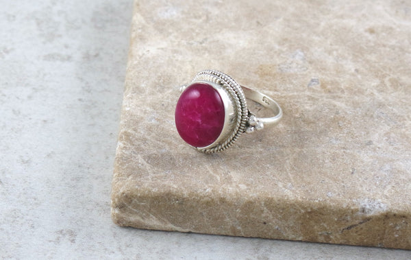 Shibi Red Jasper Silver Ring