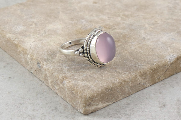 Shibi Rose Quartz Silver Ring