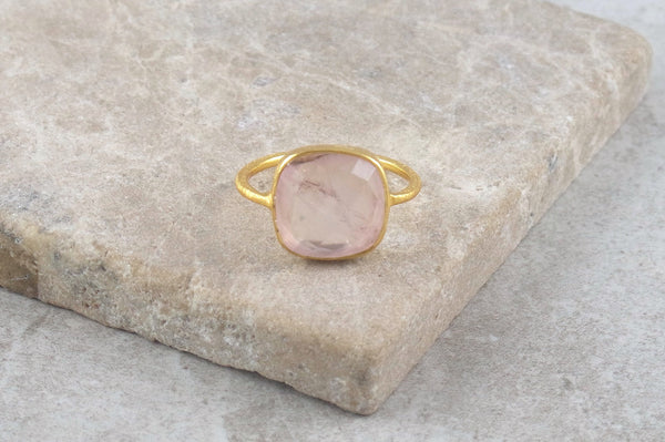 Miri Rose Quartz Gold Plated Ring