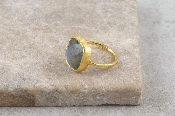 Miri Gold Plated Labradorite Ring