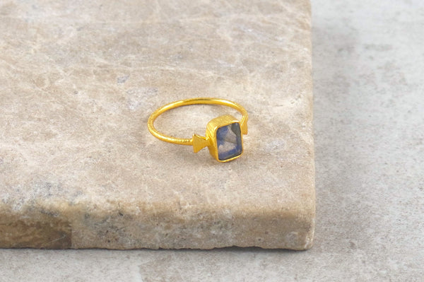 Karaa Labradorite Gold Dipped Ring