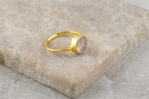 Serai Rose Quartz Gold Plated Ring