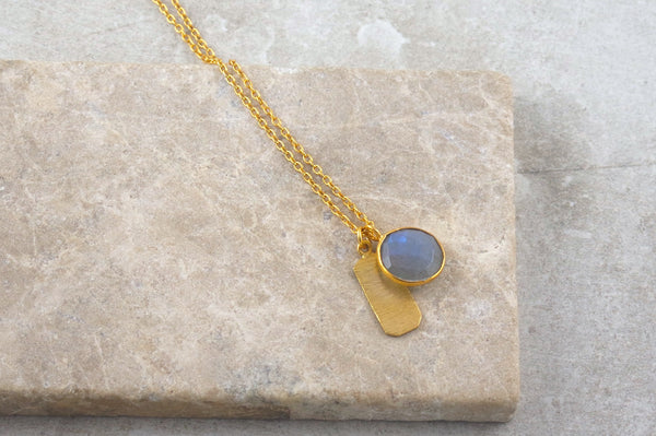 Mira Labradorite Gold Plated Necklace