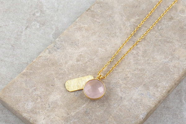 Mira Rose Quartz Gold Plated Necklace